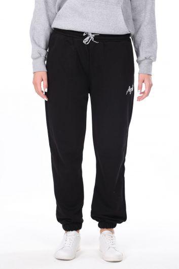 Эластичные черные женские спортивные штаны с вышивкой ангела - Thumbnail