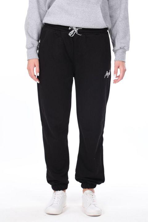 Эластичные черные женские спортивные штаны с вышивкой ангела