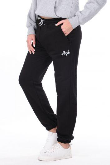 MARKAPIA WOMAN - Эластичные черные женские спортивные штаны с вышивкой ангела (1)