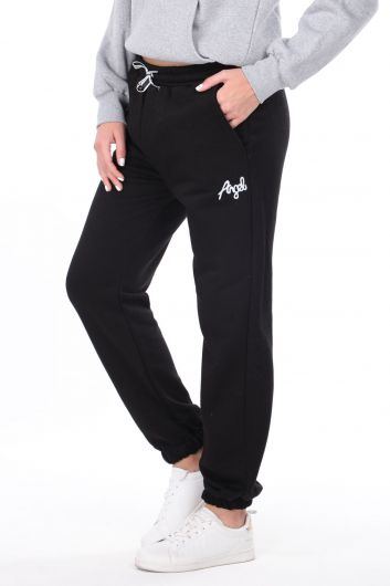 MARKAPIA WOMAN - Angel Embroidered Elastic Black Women's Sweatpants (1)