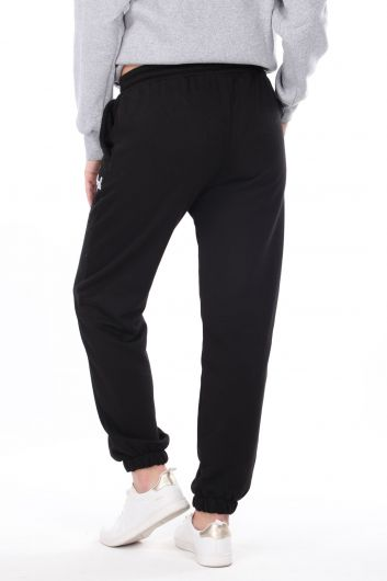 Angel Embroidered Elastic Black Women's Sweatpants - Thumbnail