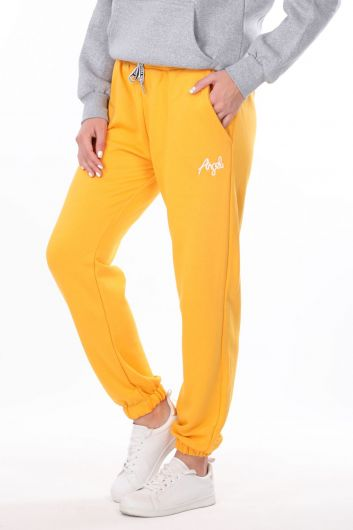 MARKAPIA WOMAN - Angel Embroidered Elastic Yellow Women's Sweatpants (1)