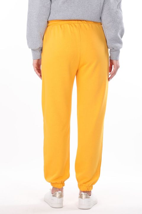 Angel Embroidered Elastic Yellow Women's Sweatpants