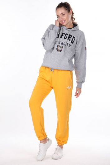 Angel Embroidered Elastic Yellow Women's Sweatpants - Thumbnail
