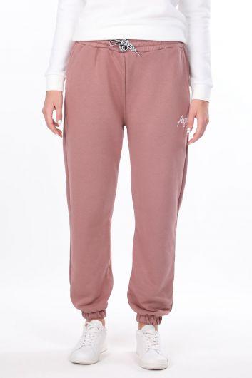 Розовые эластичные спортивные штаны с вышивкой ангела для женщин - Thumbnail