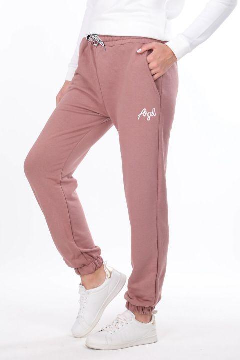 Розовые эластичные спортивные штаны с вышивкой ангела для женщин
