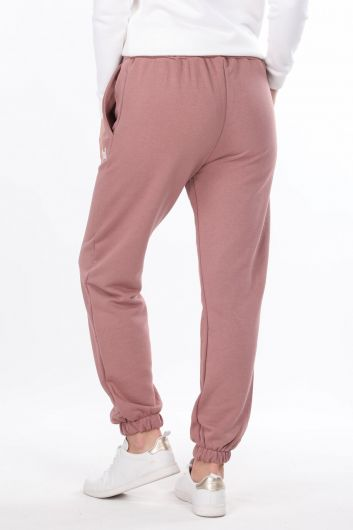 Angel Embroidered Elastic Pink Women's Sweatpants - Thumbnail