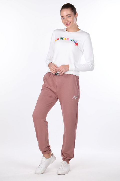 Angel Embroidered Elastic Pink Women's Sweatpants