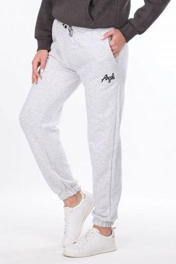 MARKAPIA WOMAN - Серые эластичные спортивные брюки с вышивкой ангела для женщин (1)