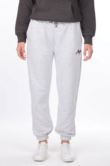 Angel Embroidered Elastic Gray Women's Sweatpants - Thumbnail
