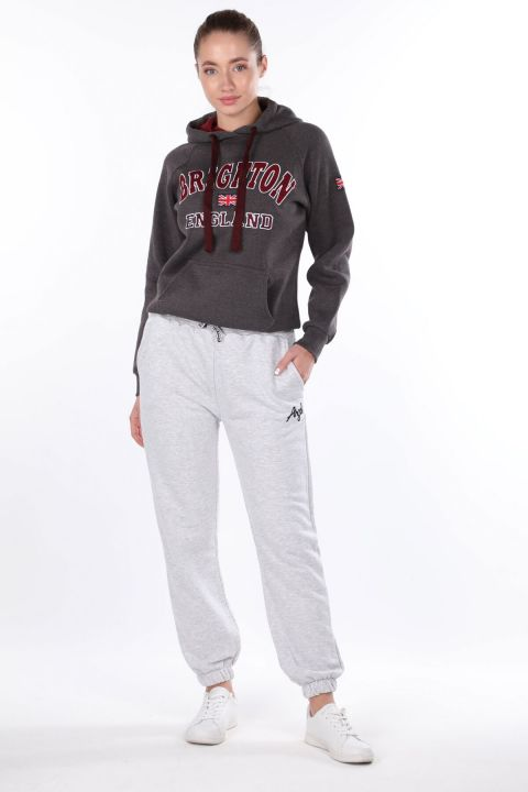 Angel Embroidered Elastic Gray Women's Sweatpants