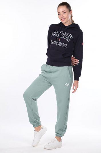 Зеленые эластичные спортивные брюки с вышивкой ангела для женщин - Thumbnail