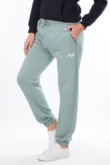 MARKAPIA WOMAN - Angel Embroidered Elastic Green Women's Sweatpants (1)