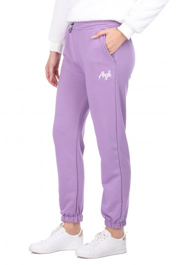 MARKAPIA WOMAN - Сиреневые эластичные женские спортивные штаны с вышивкой ангела (1)