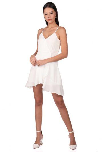 Askılı Beyaz Elbise - Thumbnail