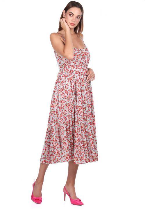 İnce Askılı Çiçek Desenli Akordiyon Elbise