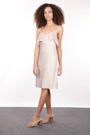 MARKAPIA WOMAN - Бежевое женское платье с ремешками и пайетками (1)