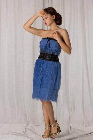حمالة طبقات تول أزرق قصير فستان سهرة - Thumbnail