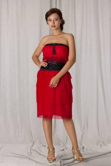Красное многоярусное вечернее платье из тюля без бретелек - Thumbnail