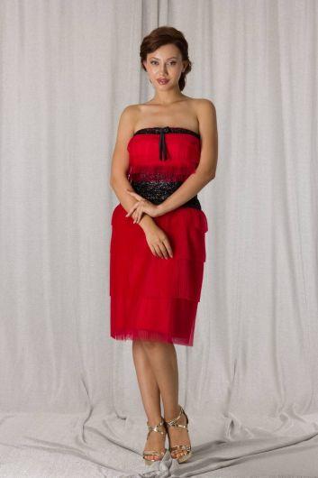shecca - Красное многоярусное вечернее платье из тюля без бретелек (1)
