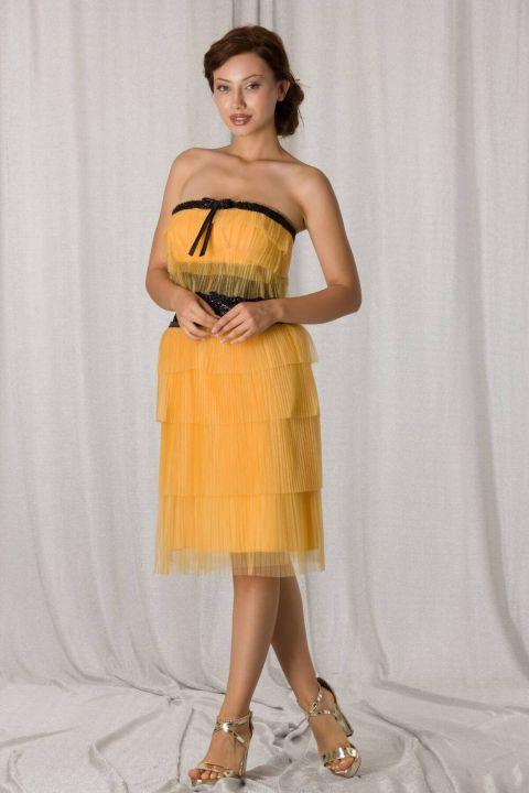 حمالة الطبقات تول أصفر قصير مساء اللباس