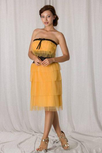 Желтое короткое вечернее платье из многослойного тюля без бретелек - Thumbnail