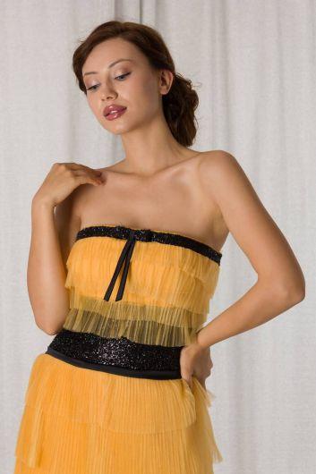 shecca - Желтое короткое вечернее платье из многослойного тюля без бретелек (1)
