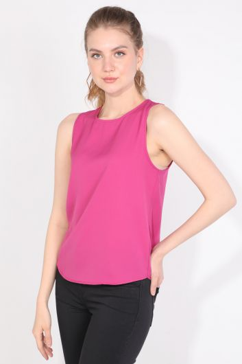MARKAPIA WOMAN - Women Back Pleated Sleeveless Blouse Pink (1)