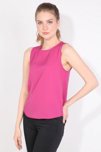 MARKAPIA WOMAN - Женская Блузка Без Рукавов Со Складкой На Спине Розовая (1)
