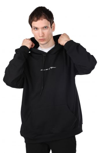 Oversized Men's Hooded Sweatshirt with a Print on the Back - Thumbnail