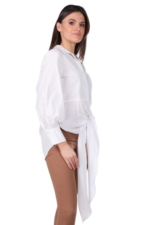 Tied Front Long Back White Women's Shirt