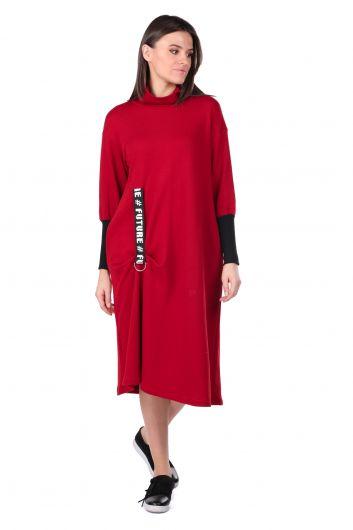 Balıkçı Yaka Bordo Kadın Sweat Elbise - Thumbnail