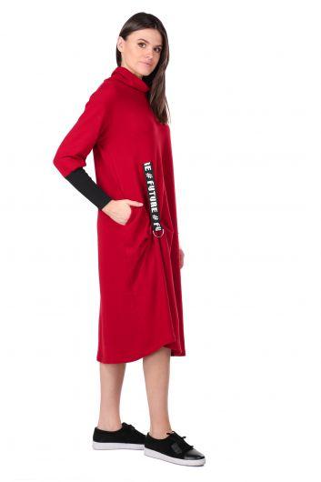 MARKAPIA WOMAN - Balıkçı Yaka Bordo Kadın Sweat Elbise (1)