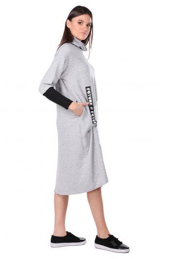 MARKAPIA WOMAN - Balıkçı Yaka Gri Kadın Sweat Elbise (1)