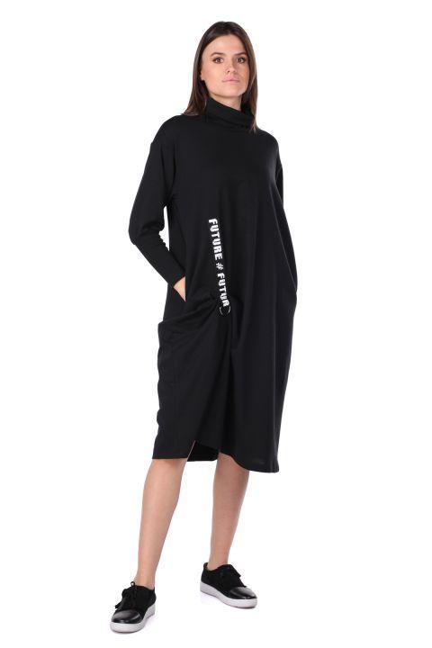 Balıkçı Yaka Siyah Kadın Sweat Elbise