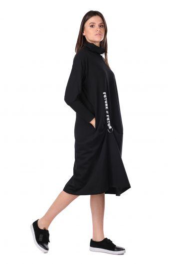 MARKAPIA WOMAN - Balıkçı Yaka Siyah Kadın Sweat Elbise (1)