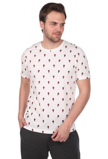 Мужская футболка с круглым вырезом и узором с воздушными шарами - Thumbnail