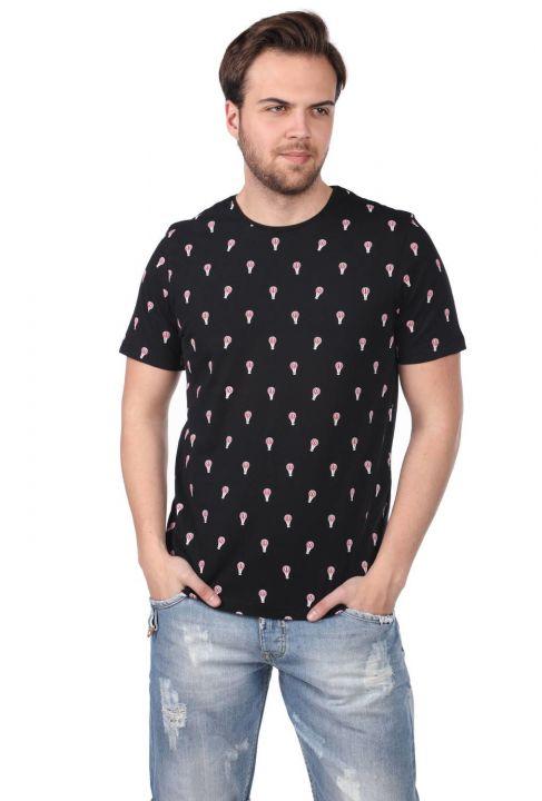 Balon Desenli Erkek Bisiklet Yaka T-Shirt