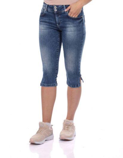 Banny Jeans Женщина с двумя пуговицами Жан Капри - Thumbnail
