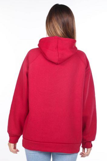 MARKAPIA WOMAN - Barcelona Aplikeli İçi Polarlı Kapüşonlu Kadın Sweatshirt (1)