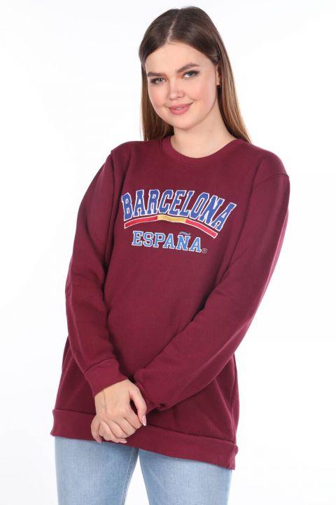 Barcelona Espana Applique Women's Fleece Sweatshirt