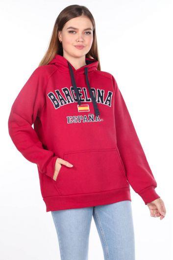 Barcelona Espana Applique Fleece Hooded Sweatshirt - Thumbnail