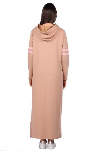 مقنعين فستان عرق بيج طويل أساسي للمرأة - Thumbnail