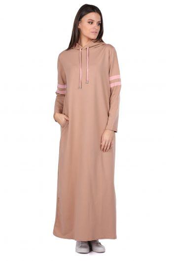 Базовое длинное бежевое женское спортивное платье с капюшоном - Thumbnail