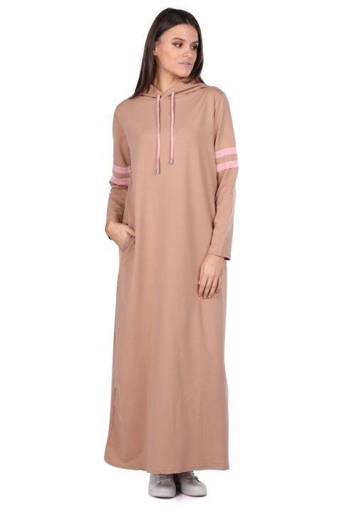 Hooded Basic Long Beige Women's Sweat Dress