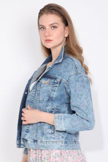 Banny Jeans - Baskı Desenli Oversize Kadın Jean Ceket (1)