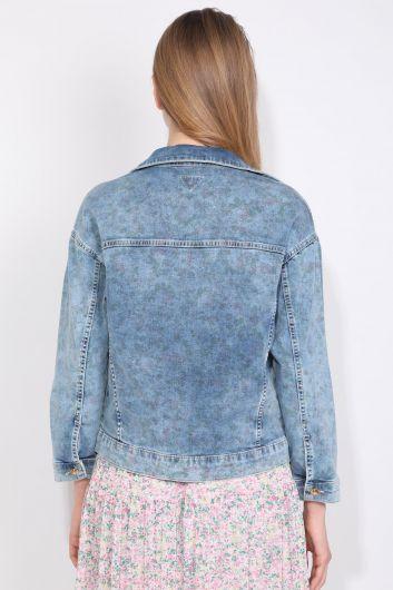 Baskı Desenli Oversize Kadın Jean Ceket Yakalı Mavi Cepli - Thumbnail