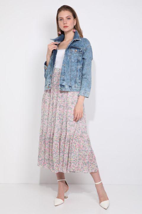 Baskı Desenli Oversize Kadın Jean Ceket Yakalı Mavi Cepli
