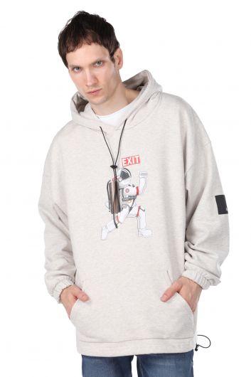 Baskılı Kapüşonlu Oversize Erkek Sweatshirt - Thumbnail