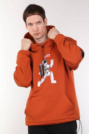Baskılı Kapüşonlu Turuncu Oversize Erkek Sweatshirt - Thumbnail